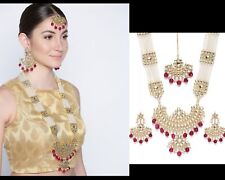 Bollywood Wedding Red Pendant Necklace Earring Set Indian Fashion Party Jewelry
