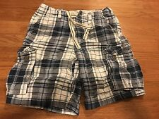 Mens ABERCROMBIE & Fitch ANF White Blue Plaid Cargo Shorts Size 33