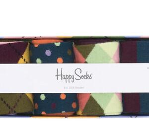 Happy Socks Men's NWT Argyle Crew Socks Gift Box - Pack Of 4 Shoe Size (8-12)