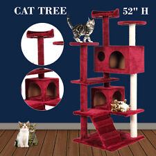 Cat Tree Tower Condo Furniture Scratch Post Kitty Pet House Play Red Wine