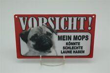 MOPS  - Tierwarnschild - VORSICHT Warnschild 20x12 cm 31