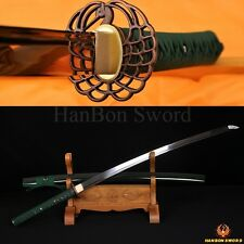 Japanese Samurai Handmade Katana Green Sword 1095Spring Carbon Steel Blade Sharp