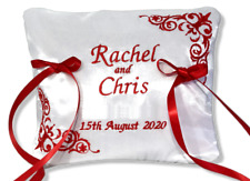 Beautiful Personalised Wedding Bearer Ring Cushion Pillow Red White any name