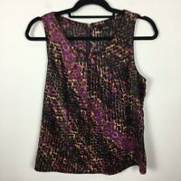 Apt 9 XS Blouse Popover Purple Black Abstract Print Sleeveless Jewel Neck