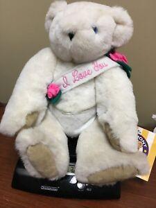 Vintage Vermont Teddy Bear I LOVE YOU Plush White Angel Bear Wing Blue Eyes Rose