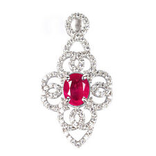 14KT White Gold 2.75 Carat 100% Natural Red Ruby IGI Certified Diamond Pendent