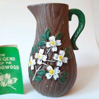 Legend of the Dogwood Small Pitcher Vase Japan Vintage Ceramic Pottery