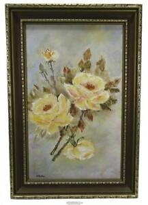 Yellow Roses Framed Oil On Board Painting Signed N Baker 19 x 12.75 inch