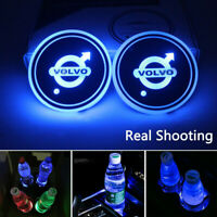 2PCS LED Car Logo Cup Holder Pad 7 Colors Changing Atmosphere Lights for VOLVO