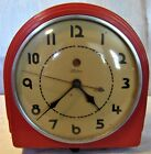 Vintage Mid-century Telechron Electric Wall Clock Art Deco Red
