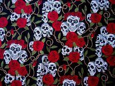 Calavera y Rosas Negro Y Rojo material de tela de algodón Goth Rock Halloween Por Metro