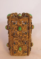 WOW! Antique French Gold Gilt Filigree Jeweled Box & Cut Glass Perfume Bottles