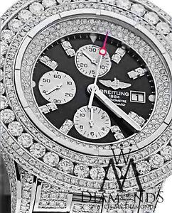 Breitling Super Avenger Black A13370 30 ct Diamond Authentic Men's Watch