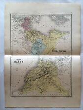 GRAVURE EMPIRE MAROC TUNIS TRIPOLI 1883 MIGEON CARTE MAP OLD AFRIQUE