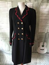 RENA LANGE Black with Red Plaid Trim Dbl Breasted Virgin Wool Coat 6 - 8