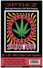 CANNABIS SATIVA - BLACKLIGHT FABRIC POSTER - 23x28 WALL HANGING POT WEED BLF7