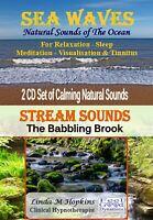2 CD Box Set Sea Waves CD and Stream Sounds CD For Relaxation Sleep & Tinnitus