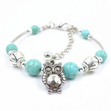 Fashion Women Vintage Charm Jewelry Silver Pld Owl Turquoise Bracelets Bangle