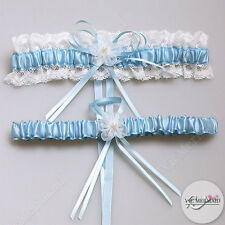 Wedding Garter Set Lace Bride Tossing Keep & Throw White&Light Blue Hens Bridal