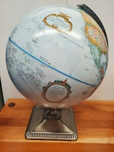 REPLOGLE 12 Inch World Classic Series Desk Globe Satin Finish Square Base