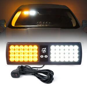 Amber White 48 LED Emergency Strobe Visor Light 18 Flash Patterns Hazard Warning