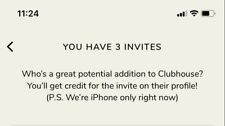 CLUBHOUSE INVITE. IMMEDIATE DELIVERY OVER TEXT. IPHONE ONLY.