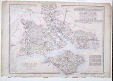 1864 LARGE ANTIQUE MAP ~ HAMPSHIRE SOUTH NEW FOREST ISLE OF WIGHT SOUTHAMPTON