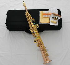 Prof. Rose Brass Bb Soprano sax Saxophone High F# G Abalone Key with Metal Mouth