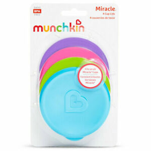 Munchkin Miracle Lids Sippy Training Cup Lid Pack Set 4 4 colours BPA Free