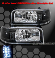 92 93 94 95 96 FORD F150 F250 BRONCO LED HEADLIGHTS BLK