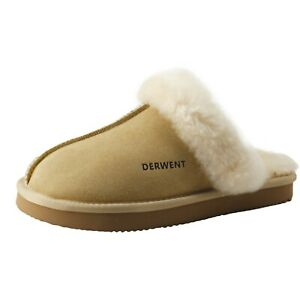 Derwent Womens Suede 100% Wool Sheepskin Fur Slippers Comfortable House Shoes