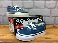 VANS UK 4 EU 28 AUTHENTIC NAVY WHITE CANVAS TRAINERS CHILDRENS BABY LG