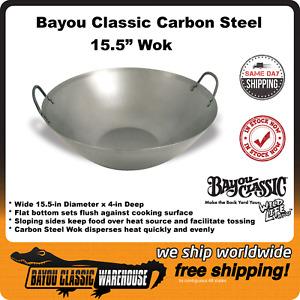 "Bayou Classic 15.5"" Carbon Steel Flat Bottom Wok 8540 15.5"" Diameter X 4"" Deep"