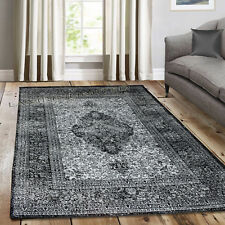 Traditional Vintage Style Persian Rug Design Oriental Faded Black Grey Carpet