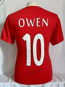 Liverpool Micheal Owen Hand Signed Red T-Shirt Ideal To Frame £59
