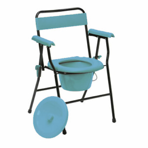 Folding Steel Commode Chair with Backrest Portable Toilet Mobility Aid Commode