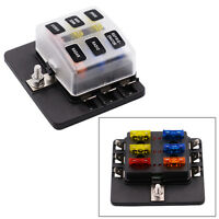6 Way Blade Fuse Box Holder LED Warning Light Kit for Car Boat Trike 32V+12 Fuse