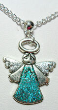 "Blue glittery angel/fairy 30mm pendant - 16"" chain"