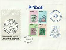 KIRIBATI 1979 ROWLAND HILL CENTENARY SOUVENIR SHEET FIRST DAY COVER