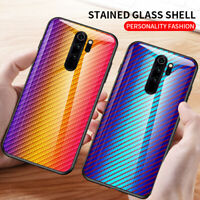 For Xiaomi Redmi Note 8 Pro Carbon Fiber Rainbow Tempered Glass Back Case Cover