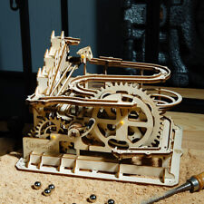DIY Waterwheel Coaster 3D Wooden Puzzle Laser Cutting Marble Run Toy for Adult