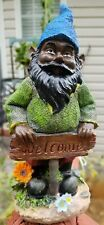 """New listing #SoilBrothers! Adorable 9.5"""" Black/African Standing Gnome With Welcome Sign."""