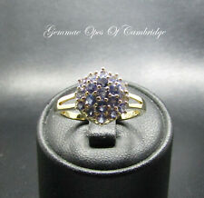 9ct Gold Tanzanite Cluster Ring Size O 1/2 2.42g