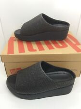 FITFLOP Womens Imogen Basket Weave Black Slides Sandals Shoes Sz 7 ZE-272