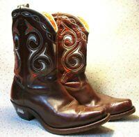 Vintage 50s Men's Acme Cowboy Boots 9D Shorty Inlay Cut Out Exellent Condition