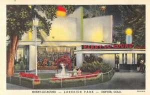 Denver Colorado Lakeside Park Merry Go Round Vintage Postcard AA28037