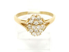 14k Yellow Gold Round Diamond Cluster Ring .42ct