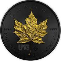 2017 1 Oz Silver MAPLE LEAF Coin - FULL RUTHENIUM, DOUBLE SIDE 24K GOLD GILDING.