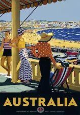 Retro Vintage Travel Poster * AUSTRALIA LARGE A3 Size CANVAS ART PRINT
