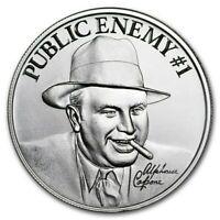 NEW ! ~ PUBLIC ENEMY #1~ AL CAPONE ROUND ~2~OUNCES PURE 999 SILVER ~ $54.88 ~BUY